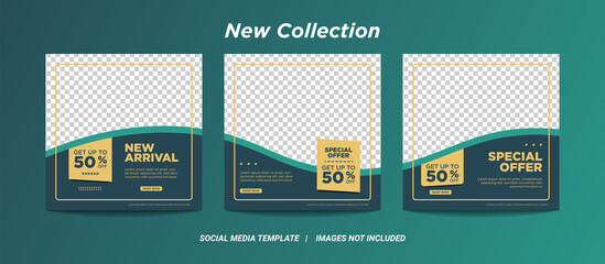 Set of Editable minimal square banner template. black green background color with stripe line shape. Suitable for social media post and web internet ads with photo college