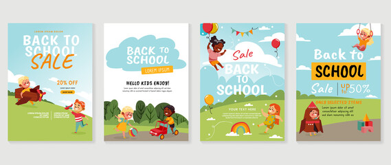 Back to school Sale vector banners. Background design with children and school playground. Kids hand drawn flat design for poster , wallpaper, website and cover template.