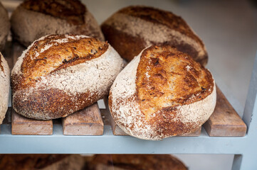 French bakery with fresh baked breads and buns
