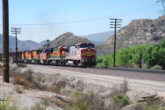 BNSF Burlington Northern Santa Fe Railway running in California, USA. August 9, 2007.