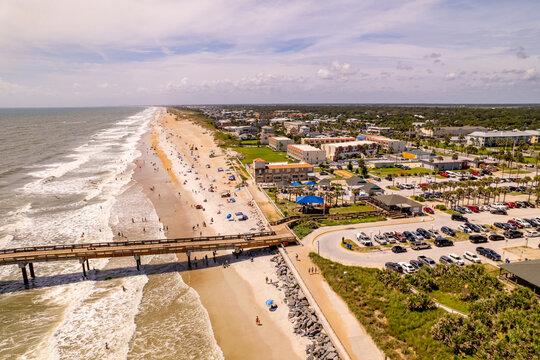 Aerial drone image St Augustine Beach FL USA