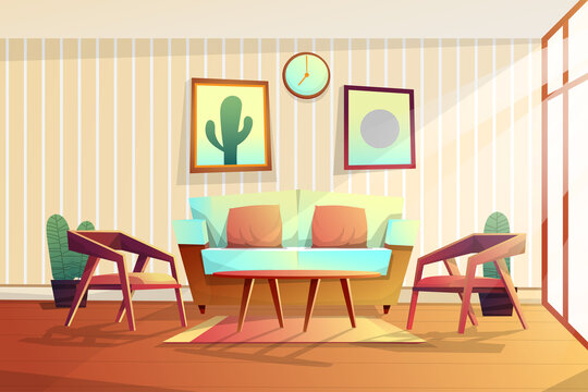 Scene of decorated in living room with sofa and chair