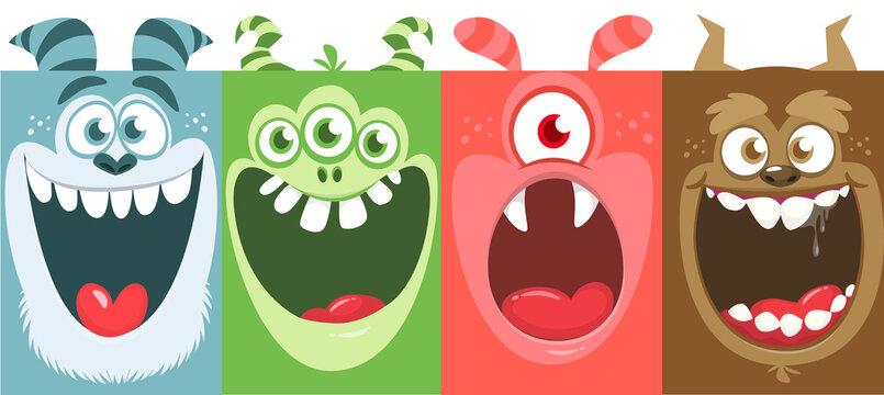 Funny cartoon monster faces emotions set. Illustration of mythical alien creatures different expression. Halloween party design. Great package design.