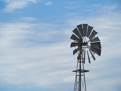 Blades of old-fashioned windmill.
