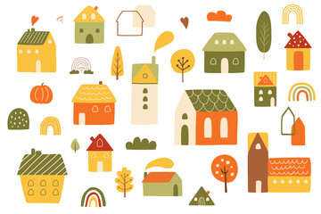 Autumn houses set. Country autumn landscape elements. Wooden houses, autumn trees, fall rainbows, village
