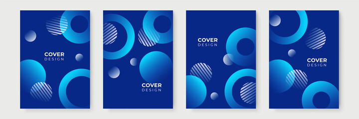 Obraz Modern blue cover design background collection. Vector set of geometric polygonal abstract background, Memphis blue covers, flyers, brochures. Colorful gradient design. - fototapety do salonu