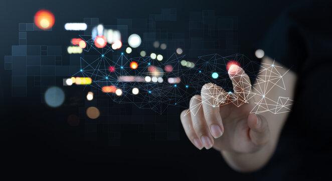 Digital technology background, internet network connection, big data, digital transformation, abstract data center, future tech concept.
