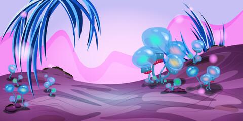 Fantasielandschap met magische planten en paddenstoelen. Illustratie van ruimte. Achtergrond voor games en mobiele applicaties