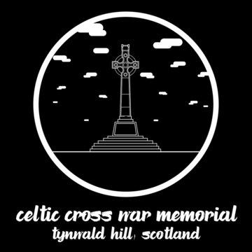 Circle icon line Celtic cross war memorial. vector illustration