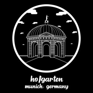 Circle icon line Hofgarten. vector illustration