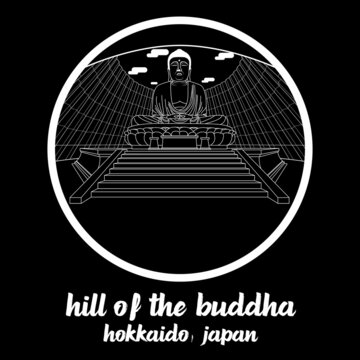 Circle icon line Hill of the Buddha. vector illustration