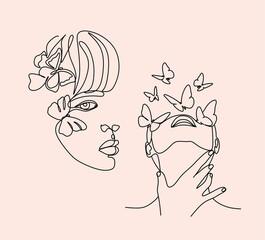 Flower face woman line drawing. Modern continuous line art. Women line art. Beauty salon logo. Coloring book. Botanical print. Nature symbol of cosmetics. Fashion logo.
