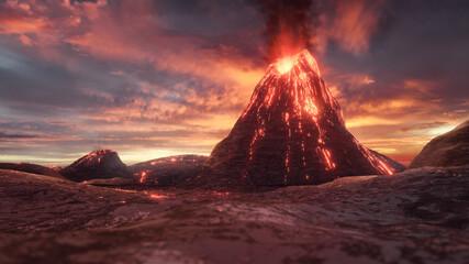 vulkan lava vulkanausbruch symbol illustration 3d Fototapete