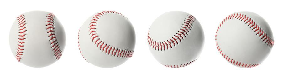 Obraz Set with traditional baseball balls on white background, banner design. Sportive equipment - fototapety do salonu