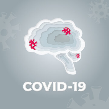 Human brain are infected with the covid virus. Paper cut style.