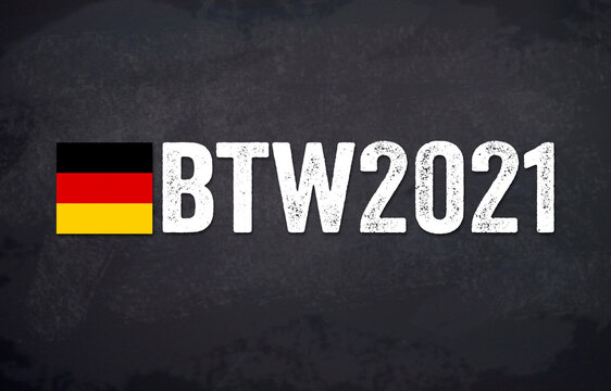 Illustration with the german words for federal election 2021 - bundestagswahl 2021 with german flag