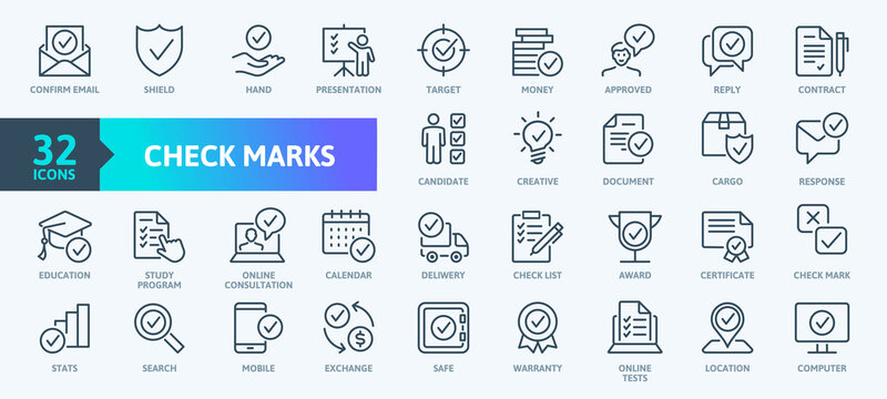 Check Marks sign - thin line web icon set. Contains such Icons as confirm, approved, check list, warranty and more. Outline icons collection. Simple vector illustration.
