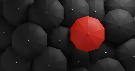 Obraz 3D illustration Different, unique and standing out of the crowd red umbrella - fototapety do salonu