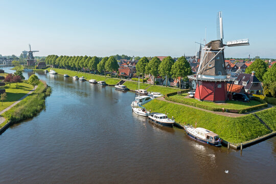 Aerial from traditional windmills in Dokkum in the Netherlands