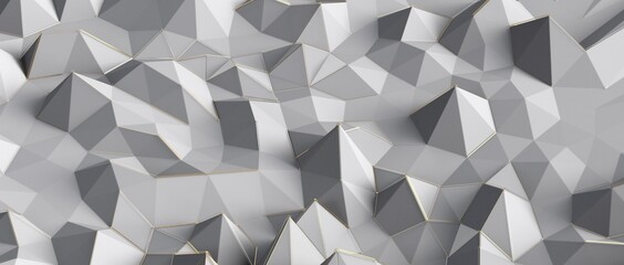 Close up detail of abstract modern metallic triangular wall pattern. Silver triangle geometric art wallpaper.