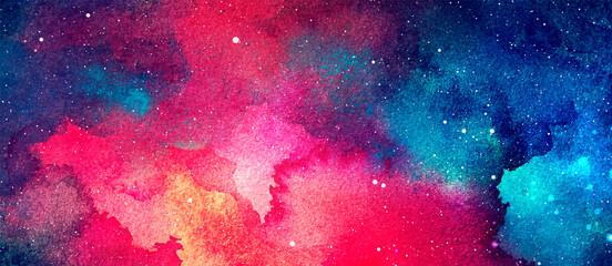 Fototapeta Vector cosmic illustration. Beautiful colorful space background. Watercolor Cosmos obraz