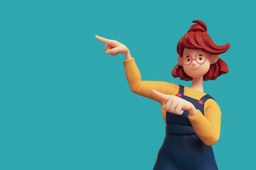 Fototapeta Portrait of smiling positive funny casual redhead girl in glasses wearing blue apron, yellow t-shirt showing you way, pointing her finger to empty copy space for advertising. Minimal style. 3d render. obraz