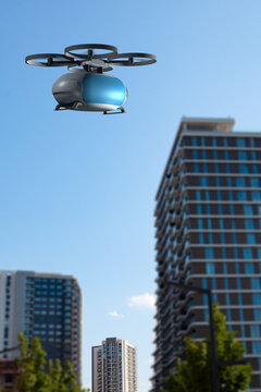 transportation drone flying next to buildings