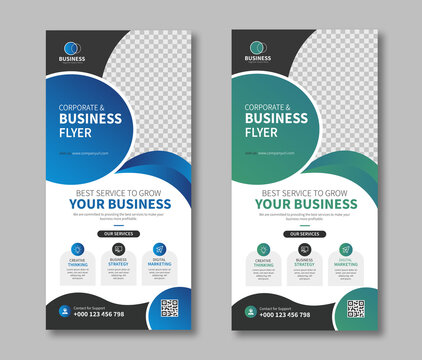 Circle shape dl flyer or rack card layout vector design template for corporate business. Useful for leaflet, booklet, brochure, poster, profile, and web banner.
