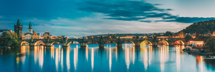 Prague, Czech Republic. Evening Panoramic View Of Evening Cityscape In Night Lighting. Charles...