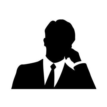 Silhouette of the upper body of a businessman wearing a suit.