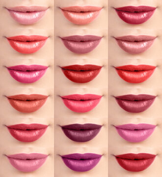 Lipstick Swatches Collage On Lips