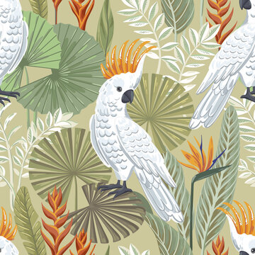 Vector seamless tropical pattern with cockatoo and exotic leaves.
