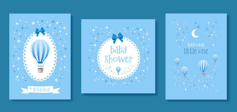 Set of baby shower vector invitation cards. Templates for it's a boy, baby shower and welcome little one.