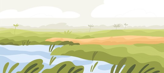 Agriculture rice field landscape. Asian farm land with crop and water. Indian farmland in summer. Plantation panorama with sky, mist and grass. Colored flat vector illustration of rural scenery