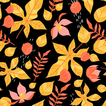 Autumn seamless pattern with yellow and red leaves, physalis and decorative elements