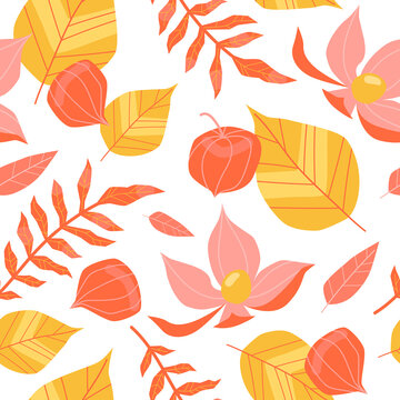 Seamless pattern with physalis and leaves on a white background.