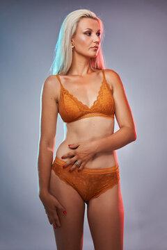 Blonde glamour model, studio shot