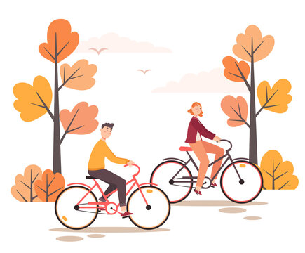 Vector illustration of young couple riding bicycles in a forest