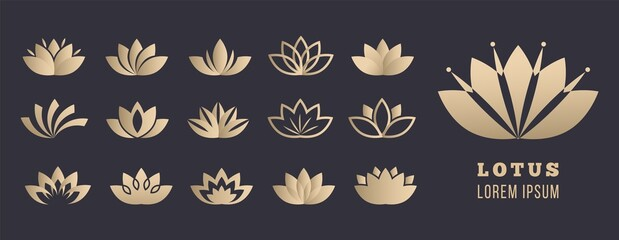 Lotus logo set. Yoga meditation, wellbeing and relaxation symbols. Golden simple flowers, healthcare and lifestyle vector icons