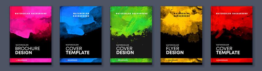 Fototapeta Watercolor booklet colourful cover bundle set on black background obraz