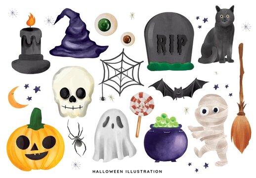 Cute Halloween Clipart Cartoon Illustrations