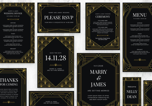 Art Deco Wedding Suite in Black and Gold
