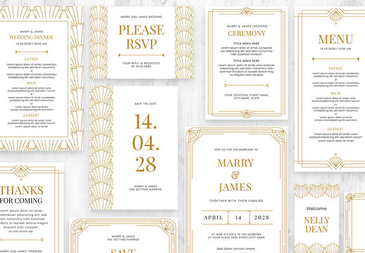 Art Deco Wedding Suite with Classic Art Deco Borderss in White & Gold