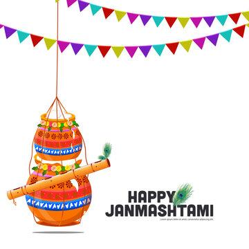 illustration of the celebration banner Background, card poster for Lord Krishna in Happy Janmashtami festival of India ,Shri Krishan Janmashtami