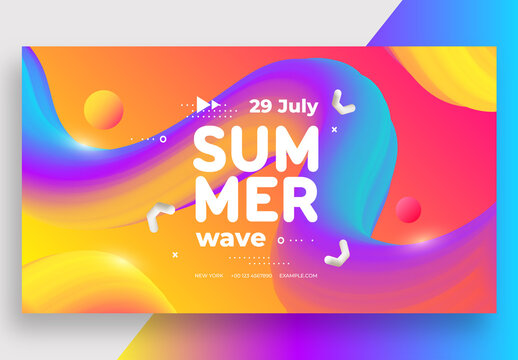Summer Wave Social Media Banner with Colorful Layout