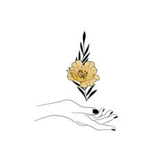 Kobieca dłoń trzymająca kwiat. Złoty kwiat, gałązka i smukła dłoń z czarnym manicure. Mistyczny gest, symbol magii, minimalistyczny design.