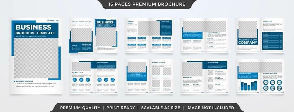business a4 bifold brochure layout with minimalist and abstract style use for business proposal and annual report