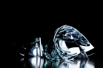 Obraz 3D Render Broken Glass Realistic wine glass Mock Up, 3D illustration Graphic Design. - fototapety do salonu