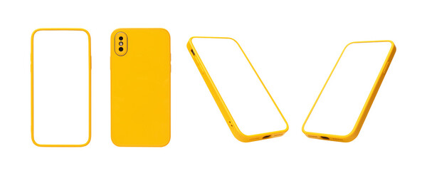 Fototapeta flat rays ,collection of yellow smartphone mockup blank screen isolated on white background obraz