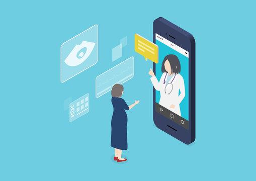 妊婦の遠隔診療アプリのイラスト素材